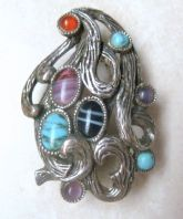 Vintage Miracle Modernist Style Bark Tentacles Faux Gemstone Brooch.
